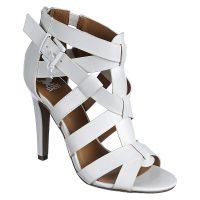White leather crisscross sandal